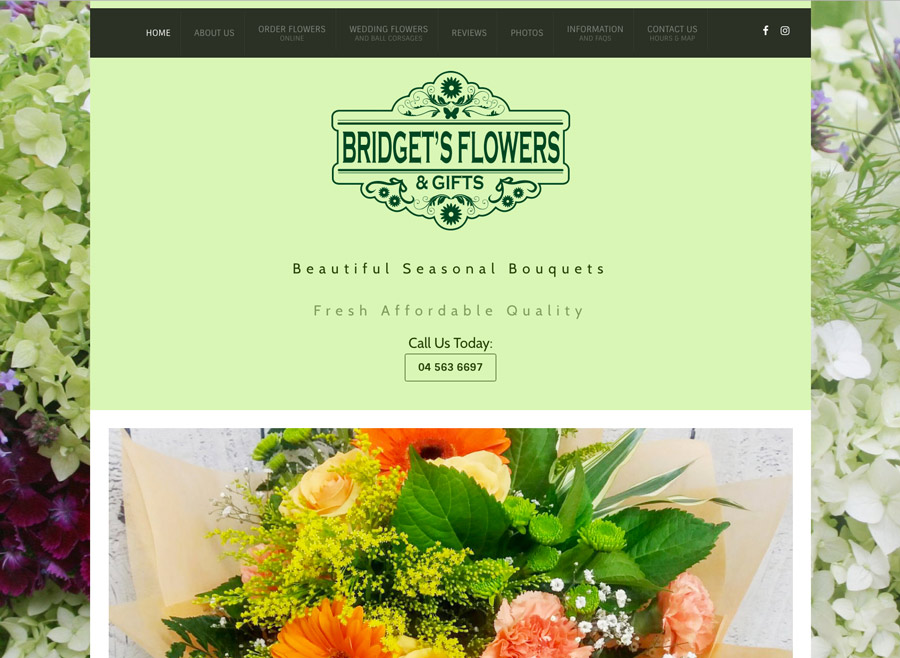 bridgets flowers stokes valley wellington websites design