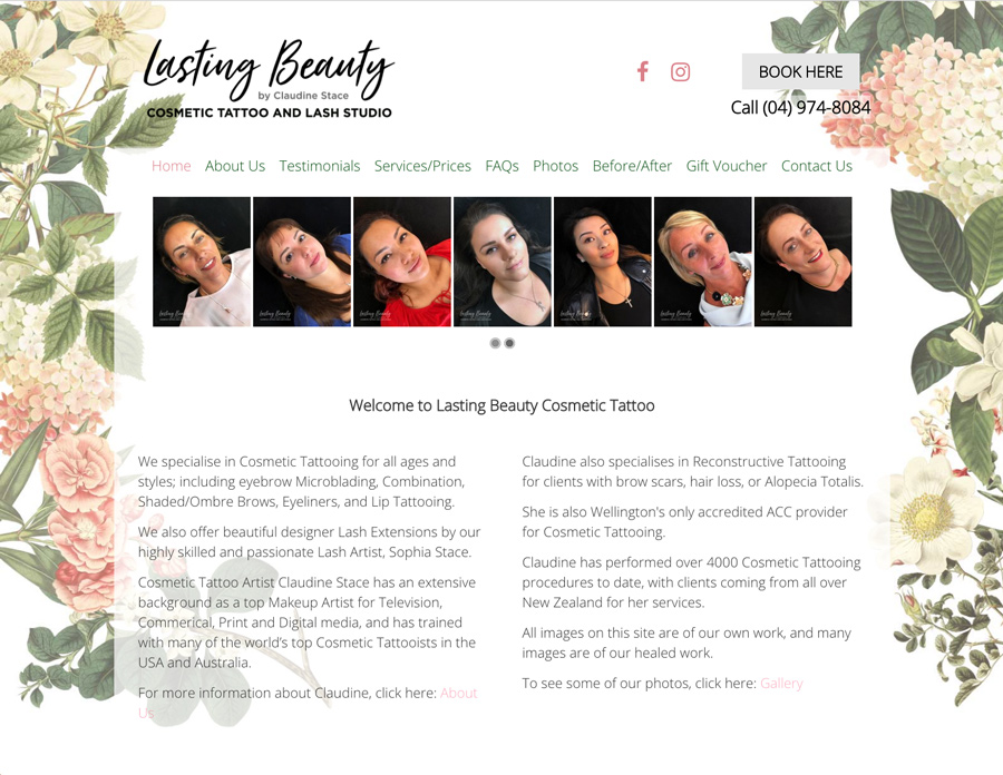 lasting beauty cosmetic tattoo web design wellington
