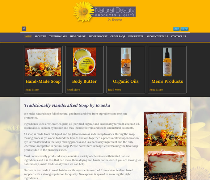 natural beauty products wellington websites design