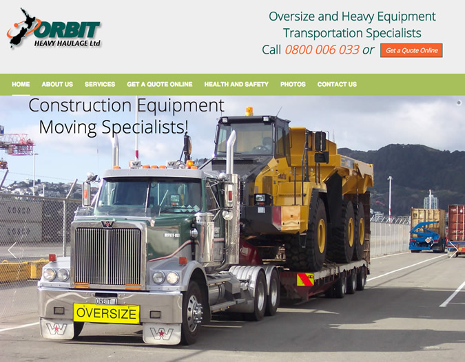 orbit heavy haulage website design wellington